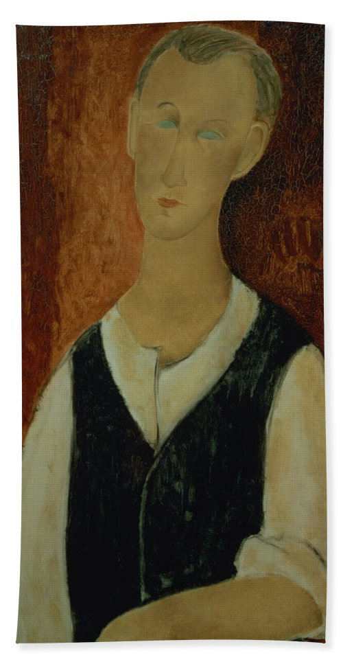 Portrait; Male; Elongation; Blue Eyes Beach Towel featuring the painting Young Man With A Black Waistcoat by Amedeo Modigliani