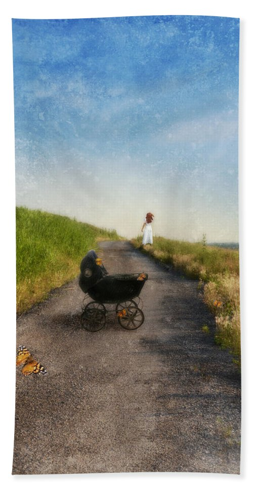 Woman Beach Towel featuring the photograph Young Woman And Baby Buggy On Dirt Road by Jill Battaglia