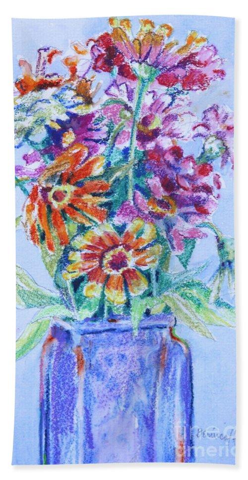 Zinnias Beach Towel featuring the painting Zinnias from My Garden by Jan Bennicoff