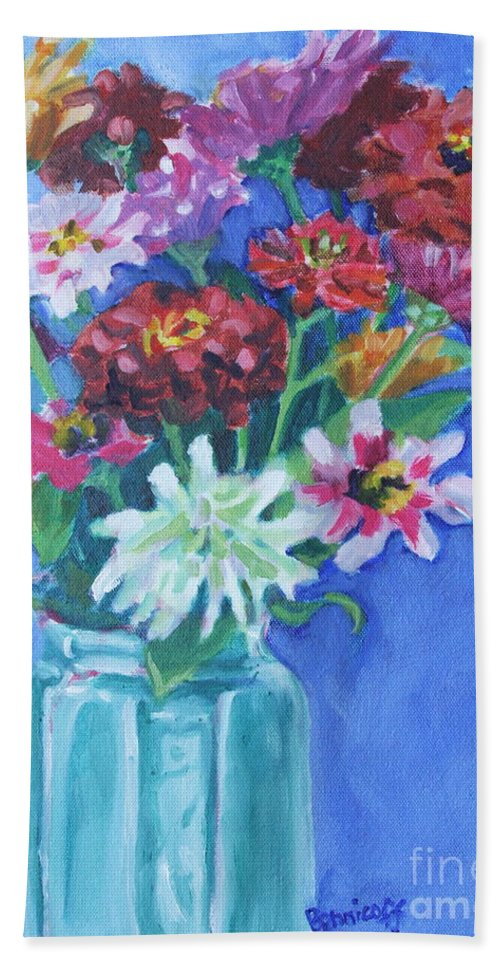 Zinnias Beach Towel featuring the painting Zinnias from My Garden Two by Jan Bennicoff