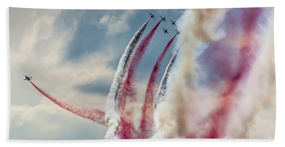 Accuracy Beach Towel featuring the photograph Aerobatic Group Formation by Mariusz Prusaczyk