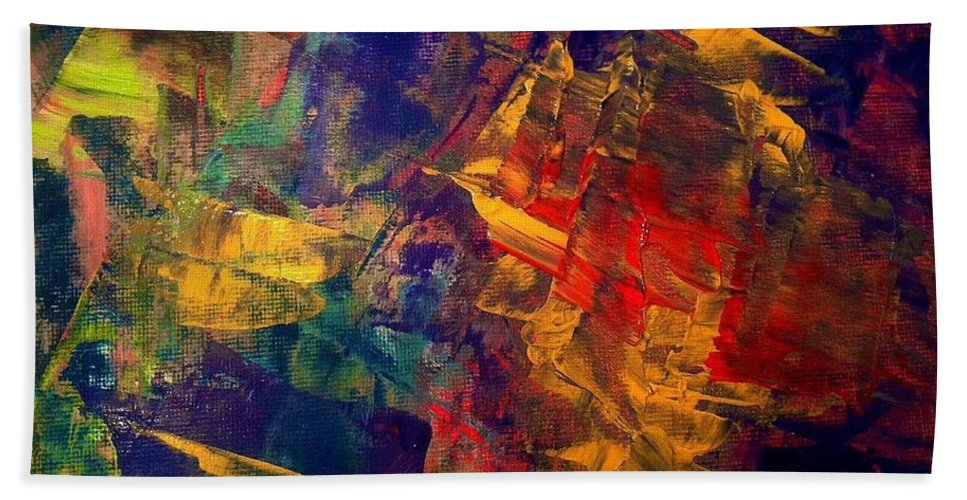 Abstract Beach Towel featuring the painting Autumn Night by Elle Justine
