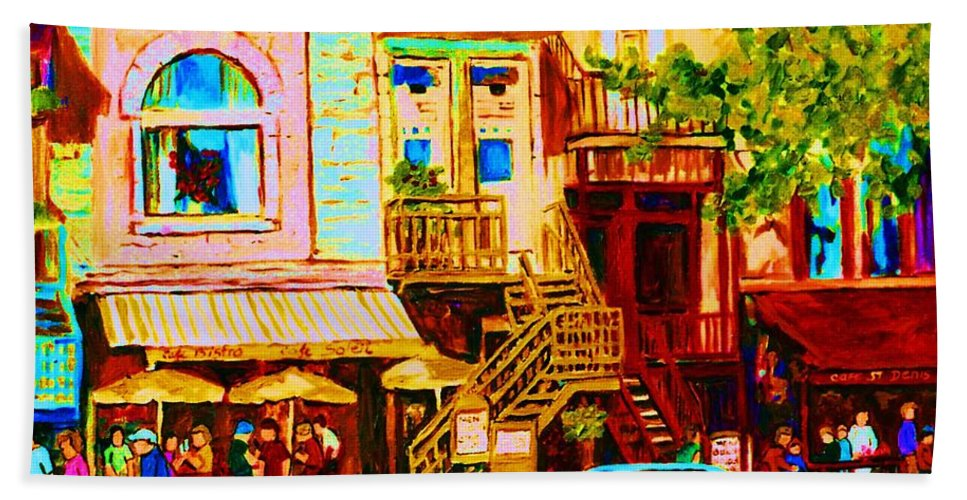 Cafe Art Beach Towel featuring the painting Beautiful Cafe Soleil by Carole Spandau