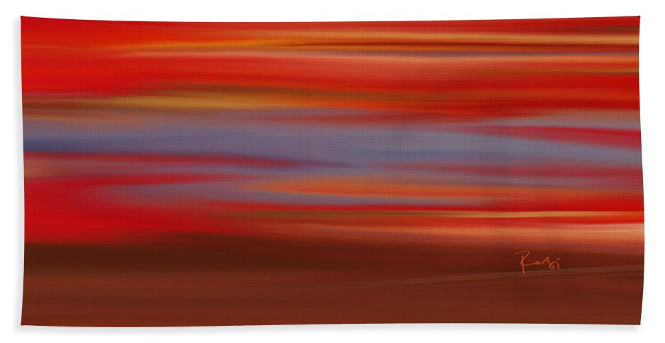 Abstract Beach Towel featuring the digital art Evening In Ottawa Valley by Rabi Khan