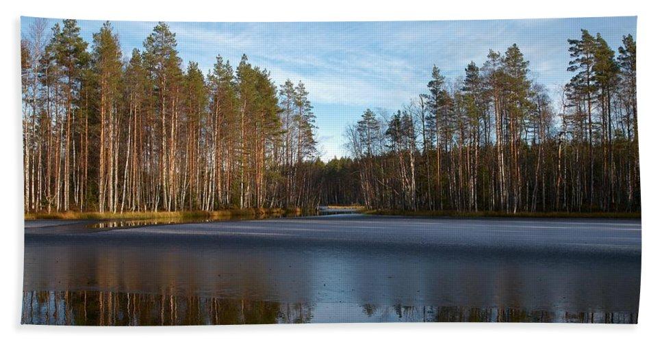 Lehtokukka Beach Towel featuring the photograph Liesilampi 5 by Jouko Lehto