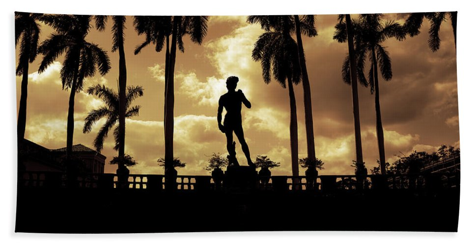 Michelangelo Beach Towel featuring the photograph Replica Of The Michelangelo Statue At Ringling Museum Sarasota Florida by Mal Bray