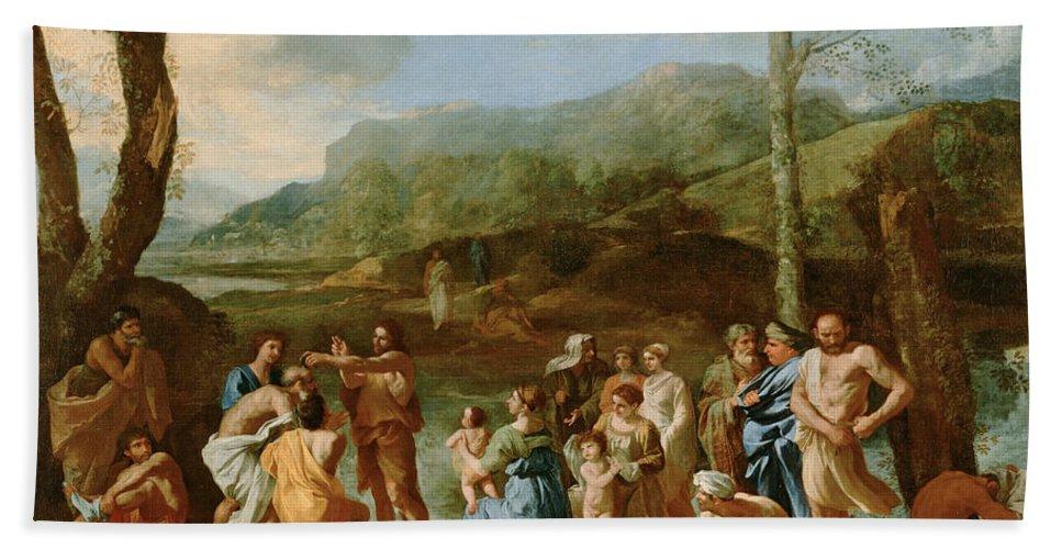 Nicolas Poussin Beach Towel featuring the painting Saint John Baptizing In The River Jordan by Nicolas Poussin