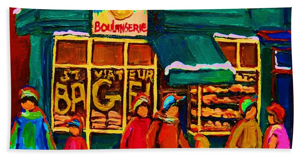St. Viateur Bagel Beach Towel featuring the painting St. Viateur Bagel Family Bakery by Carole Spandau