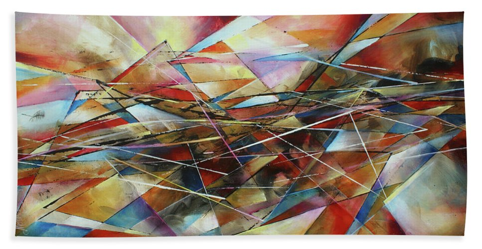 Abstract Beach Towel featuring the painting ' Surface ' by Michael Lang