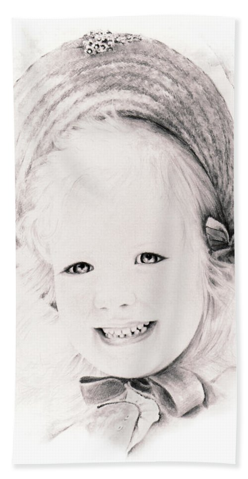 Portrait Beach Sheet featuring the drawing  Trudy by Rachel Christine Nowicki