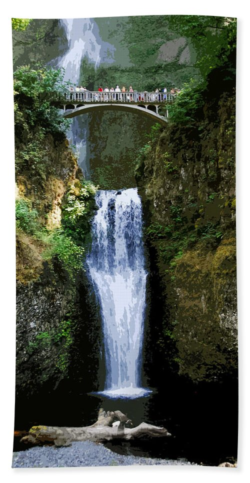 Water Falls Beach Towel featuring the painting Two Falls by David Lee Thompson