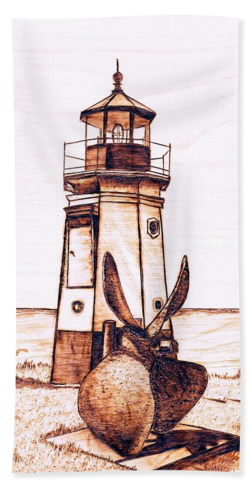 Lighthouse Beach Towel featuring the pyrography Vermilion Lighthouse by Danette Smith