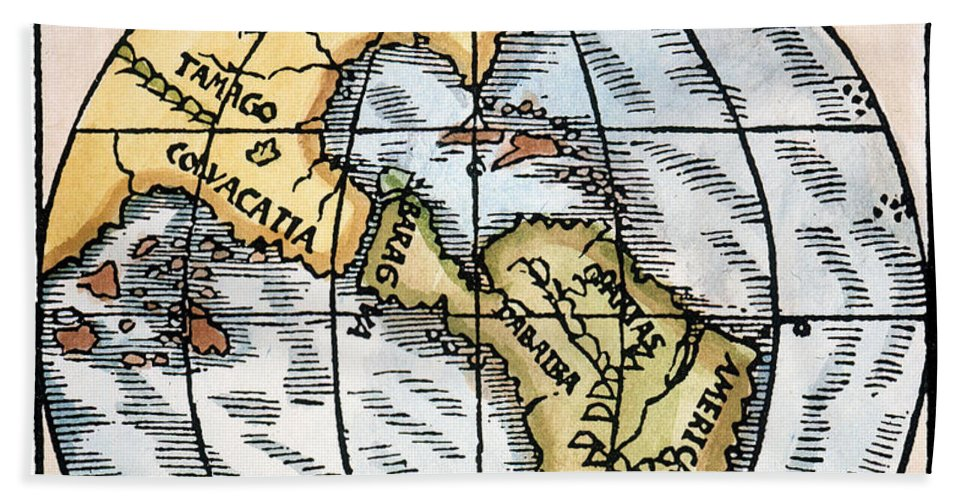 1529 Beach Towel featuring the painting World Map, 1529 by Granger