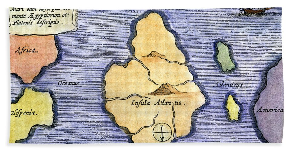 1678 Beach Towel featuring the painting Map Of Atlantis, 1678 by Granger