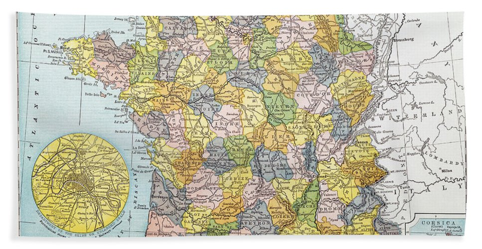1900 Beach Towel featuring the painting Map Of France, C1900 by Granger