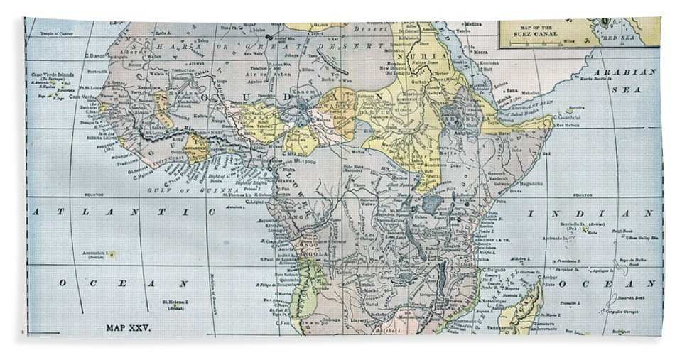 19th Century Beach Towel featuring the painting Map: Africa, 19th Century by Granger