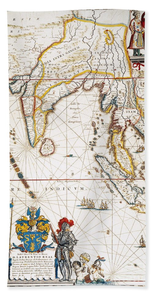 1662 Beach Towel featuring the painting South Asia Map, 1662 by Granger