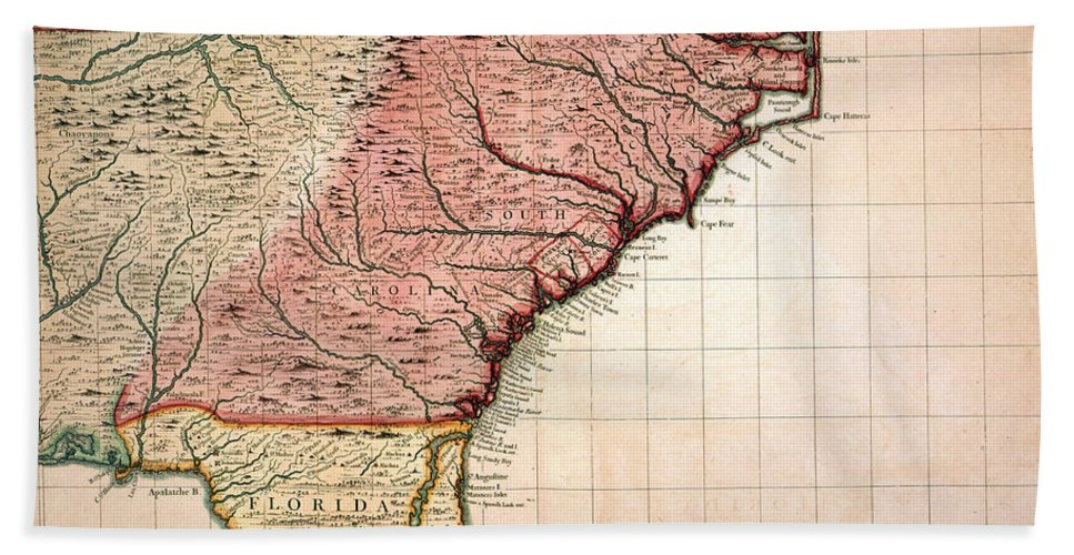 1733 Beach Towel featuring the painting Colonial America Map, 1733 by Granger
