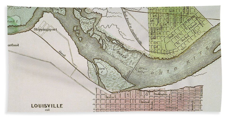 1837 Beach Towel featuring the painting Jeffersonville, Indiana: Map by Granger