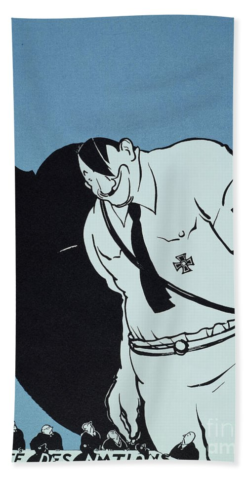 1935 Beach Towel featuring the painting Adolf Hitler Cartoon, 1935 by Granger