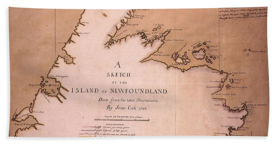 1763 Beach Towel featuring the painting Cook: Newfoundland, 1763 by Granger