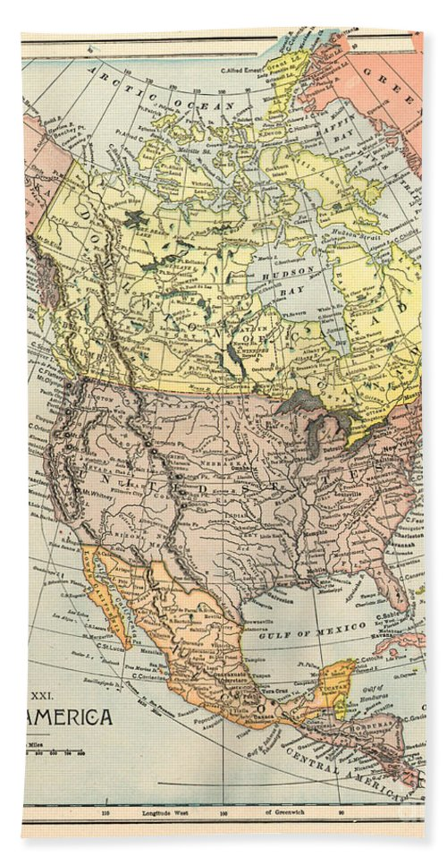 1890 Beach Towel featuring the painting Map: North America, 1890 by Granger