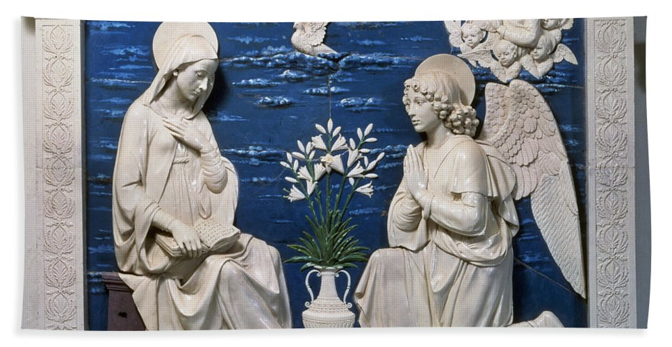 15th Century Beach Towel featuring the painting Della Robbia: Annunciation by Granger