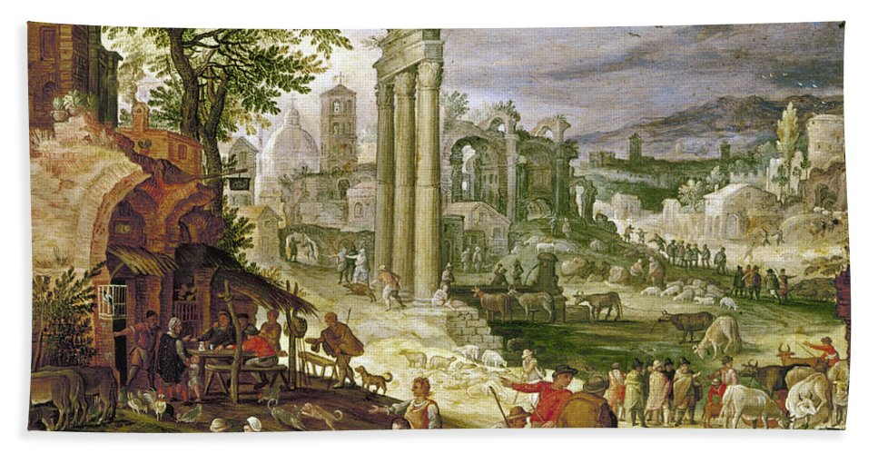 16th Century Beach Towel featuring the painting Roman Forum, 16th Century by Granger