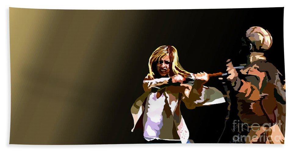 Buffy The Vampire Slayer Beach Towel featuring the painting 047. Control by Tam Hazlewood