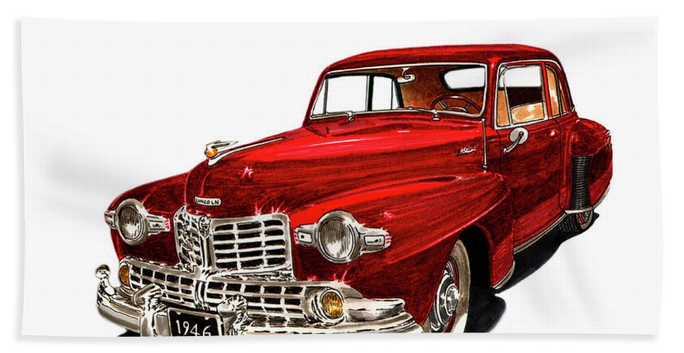 Framed Prints Of Lincoln Continentals. Framed Canvas Prints Of Art Of Famous Lincoln Cars. Framed Prints Of Lincoln Car Art. Framed Canvas Prints Of Great American Classic Cars Beach Towel featuring the painting 1946 Lincoln Continental Mk I by Jack Pumphrey