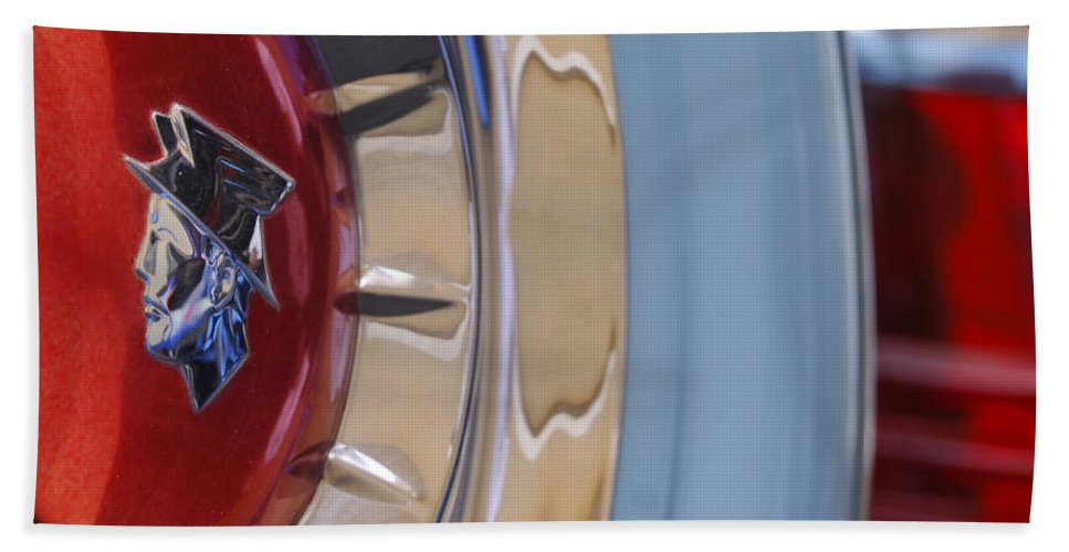 Car Beach Towel featuring the photograph 1954 Mercury Monterey Merco Matic Spare Tire by Jill Reger
