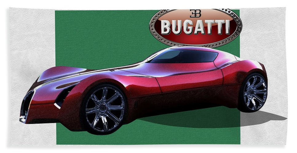 �bugatti� By Serge Averbukh Beach Towel featuring the photograph 2025 Bugatti Aerolithe Concept with 3 D Badge by Serge Averbukh