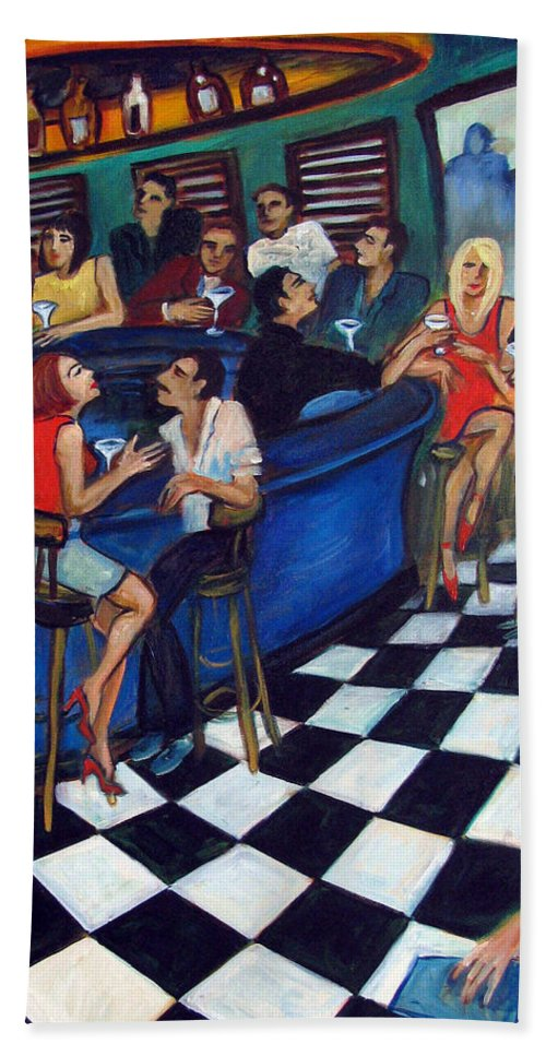 Chicago Style Bar Beach Towel featuring the painting 32 East by Valerie Vescovi