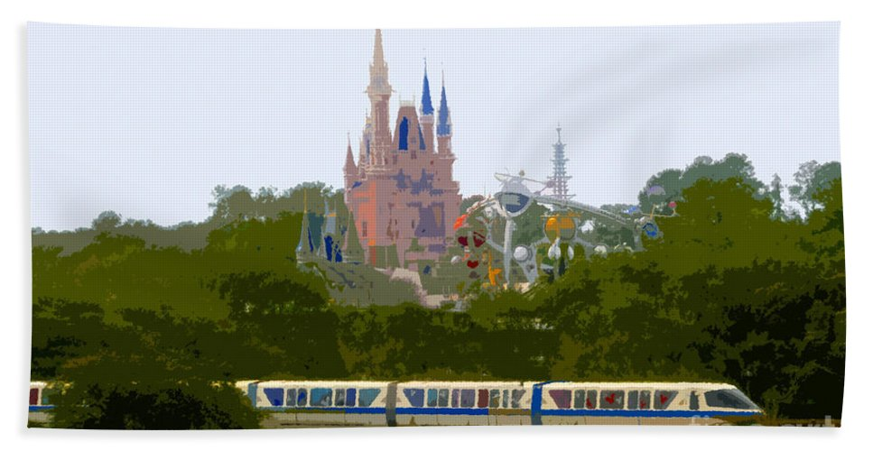 Magic Kingdom Beach Towel featuring the painting A Land Of Magic by David Lee Thompson