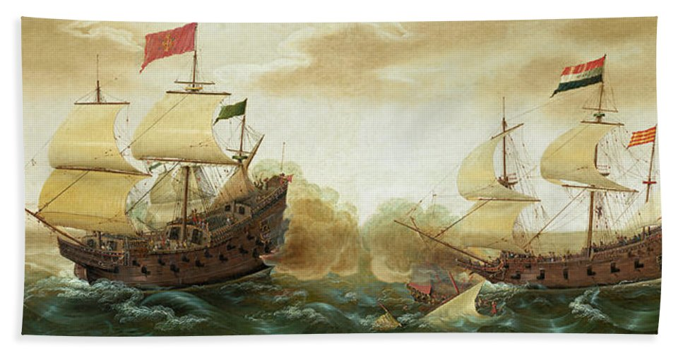 Cornelis Verbeeck Beach Towel featuring the painting A Naval Encounter Between Dutch And Spanish Warships by Cornelis Verbeeck