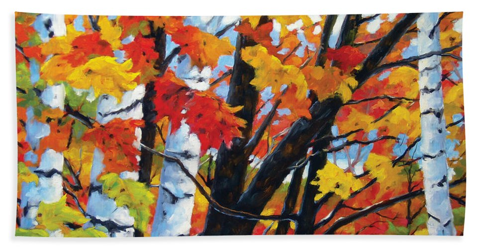 Art Beach Towel featuring the painting A Touch Of Canada by Richard T Pranke
