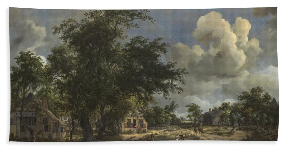 Beach Towel featuring the painting A View On A High Road by Meindert Hobbema