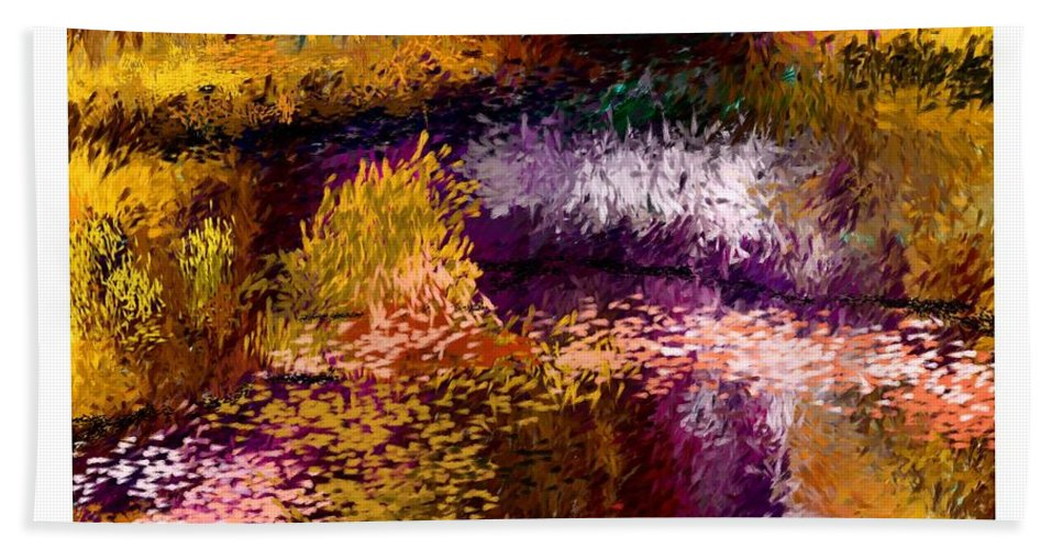 Digital Painting Beach Towel featuring the digital art Aaw2- Evening At The Pond by David Lane