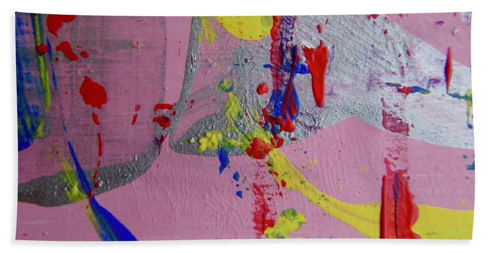 Red Beach Towel featuring the pastel Abstract 10061 by Stephanie Moore