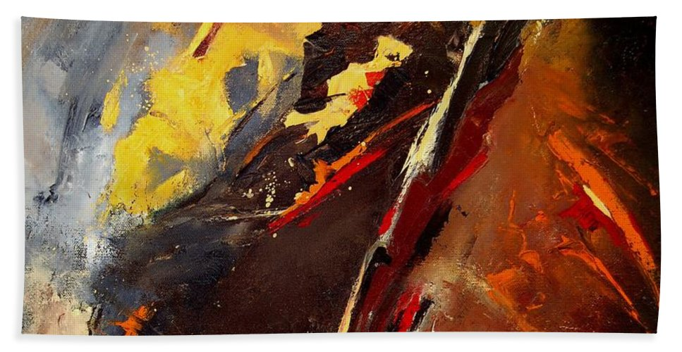 Abstract Beach Towel featuring the painting Abstract 12 by Pol Ledent