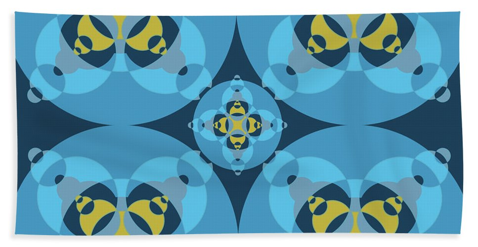 Mixedmediaart Beach Towel featuring the digital art Abstract Mandala Cyan, Dark Blue And Yellow Pattern For Home Decoration by Drawspots Illustrations