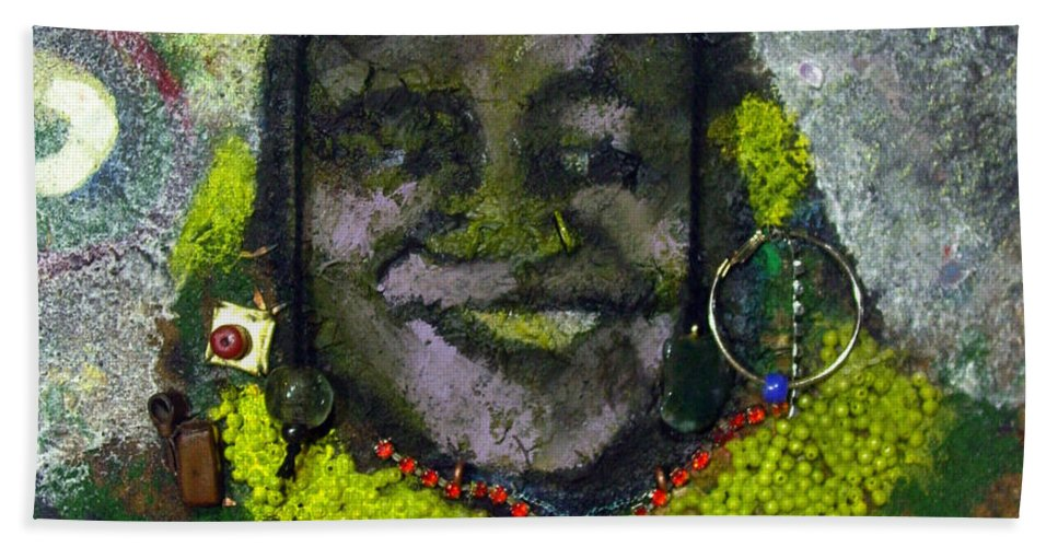 Relief Painting Beach Towel featuring the painting African Bead Painting by Mohamed-saeed Omer
