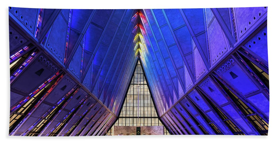 Air Force Academy Chapel Beach Towel featuring the photograph Air Force Academy Cadet Chapel by John Greim