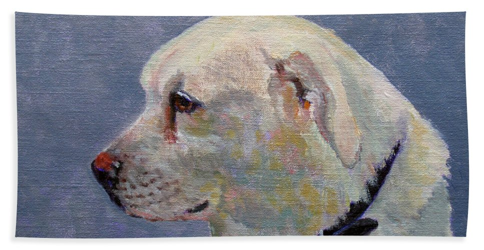 Dog Beach Towel featuring the painting Alex by Keith Burgess