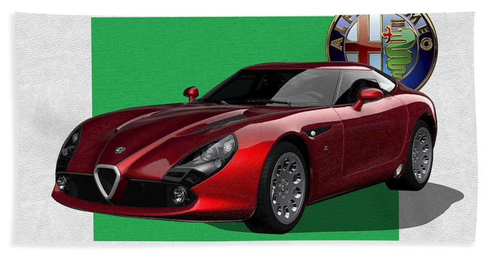 �alfa Romeo� By Serge Averbukh Beach Towel featuring the photograph Alfa Romeo Zagato T Z 3 Stradale with 3 D Badge by Serge Averbukh
