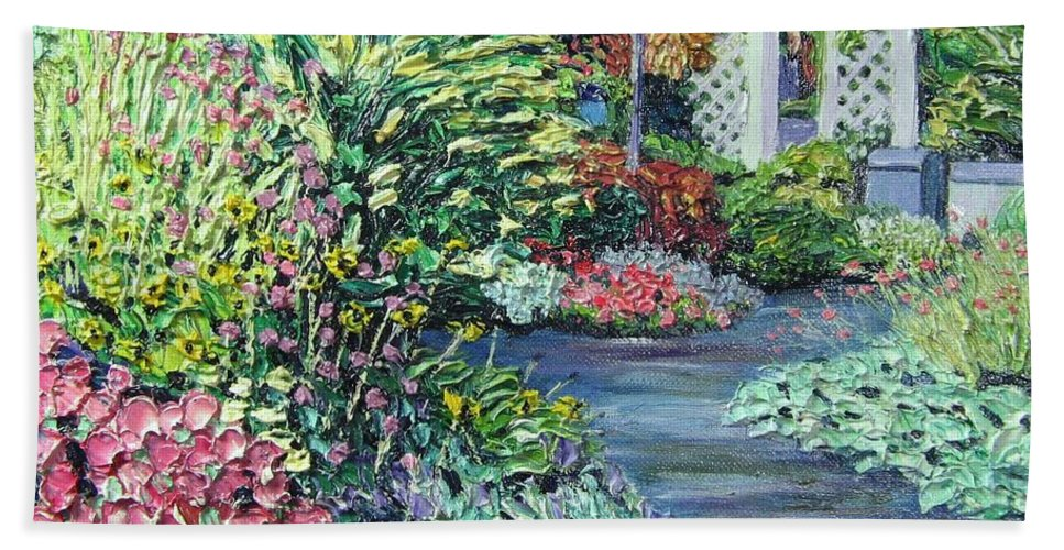 Garden Beach Towel featuring the painting Amelia Park Pathway by Richard Nowak