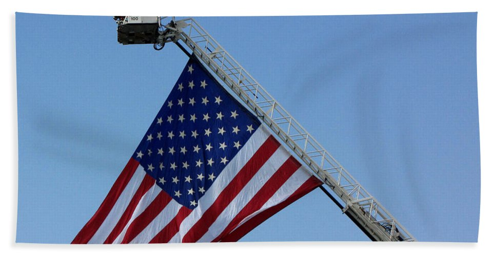 American Beach Towel featuring the photograph American Firefighter by Sarah Houser