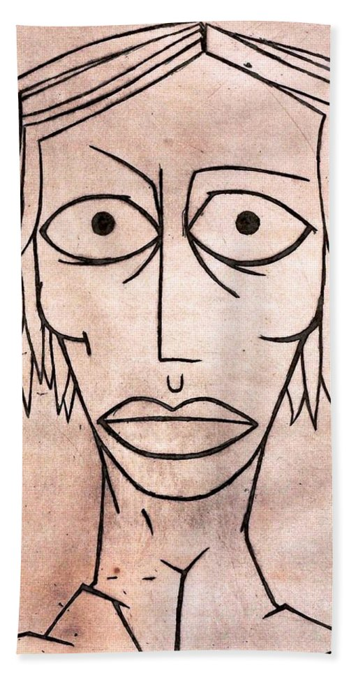 Clay Beach Towel featuring the painting amy by Thomas Valentine