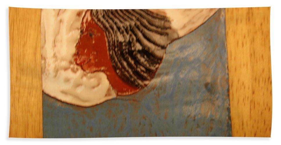 Jesus Beach Towel featuring the ceramic art Angel - Tile by Gloria Ssali