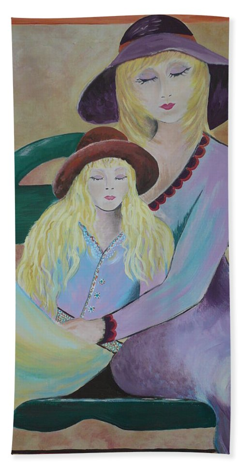 Mother/daughter Beach Towel featuring the painting Angel Face by Kris Crollard